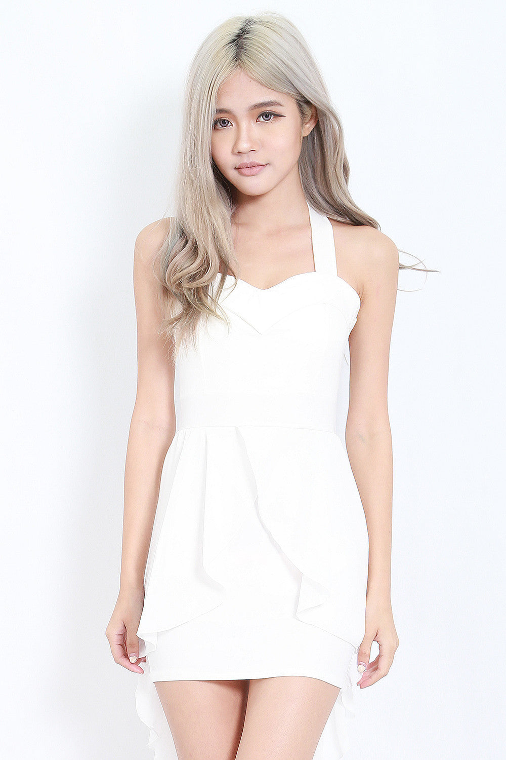 Cross Back Chiffon Overlay Dress (White) -  - 2