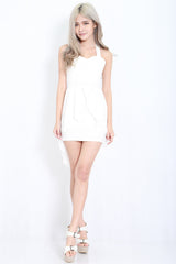 Cross Back Chiffon Overlay Dress (White) -  - 4