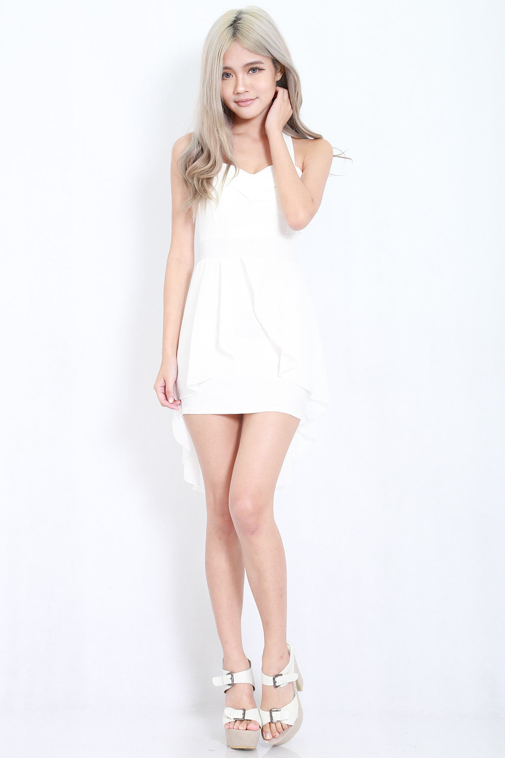 Cross Back Chiffon Overlay Dress (White) -  - 6