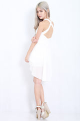 Cross Back Chiffon Overlay Dress (White) -  - 1