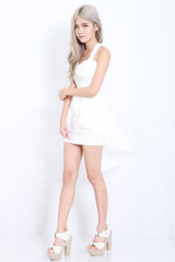 Cross Back Chiffon Overlay Dress (White) -  - 5