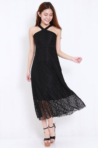 147fbd332c Cross Front Lace Maxi Dress (Black)