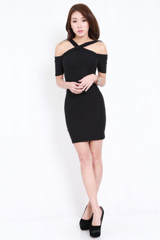 Cross Front Offsie Dress (Black)