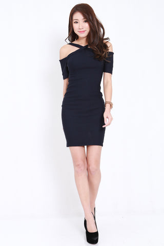 Cross Front Offsie Dress (Navy)