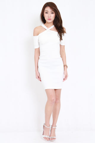 Cross Front Offsie Dress (White)