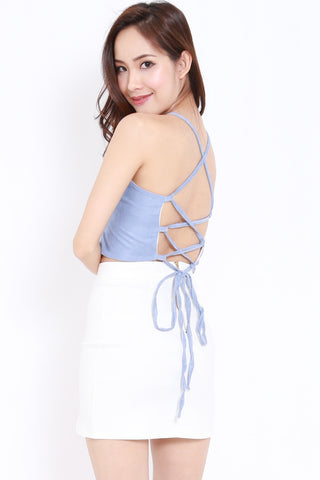 Cross Lace Back Top (Blue)