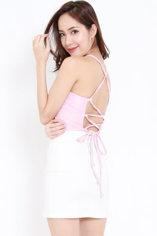 Cross Lace Back Top (Pink)