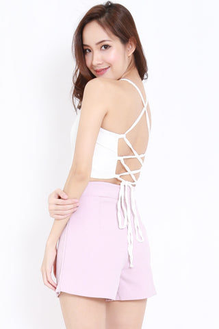 Cross Lace Back Top (White)