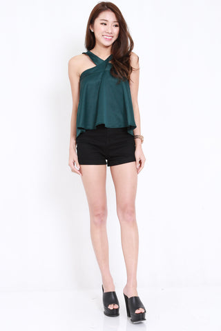 Cross Neck Flutter Top (Forest)