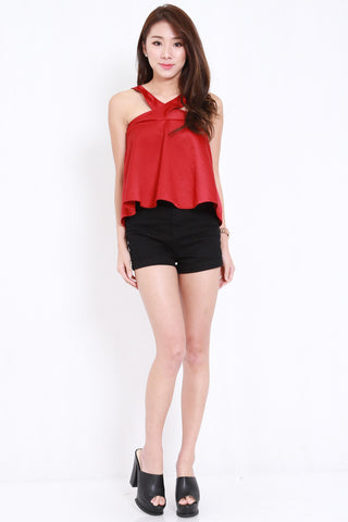 Cross Neck Flutter Top (Maroon)