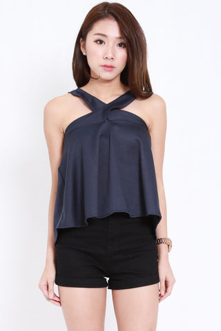 Cross Neck Flutter Top (Navy)