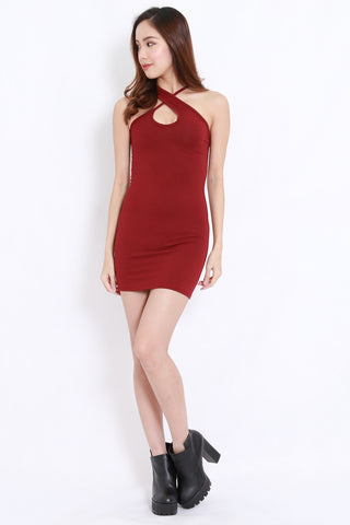 Cross Neck Mini Dress (Maroon)