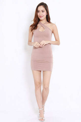 Cross Neck Mini Dress (Taupe)