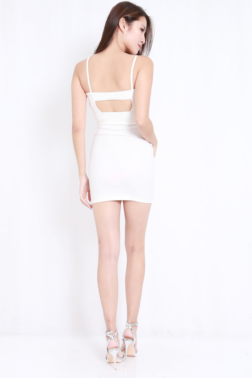 Cross Over Back Cutout Dress (White)