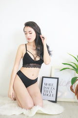 Cross V Back Bralette (Black)
