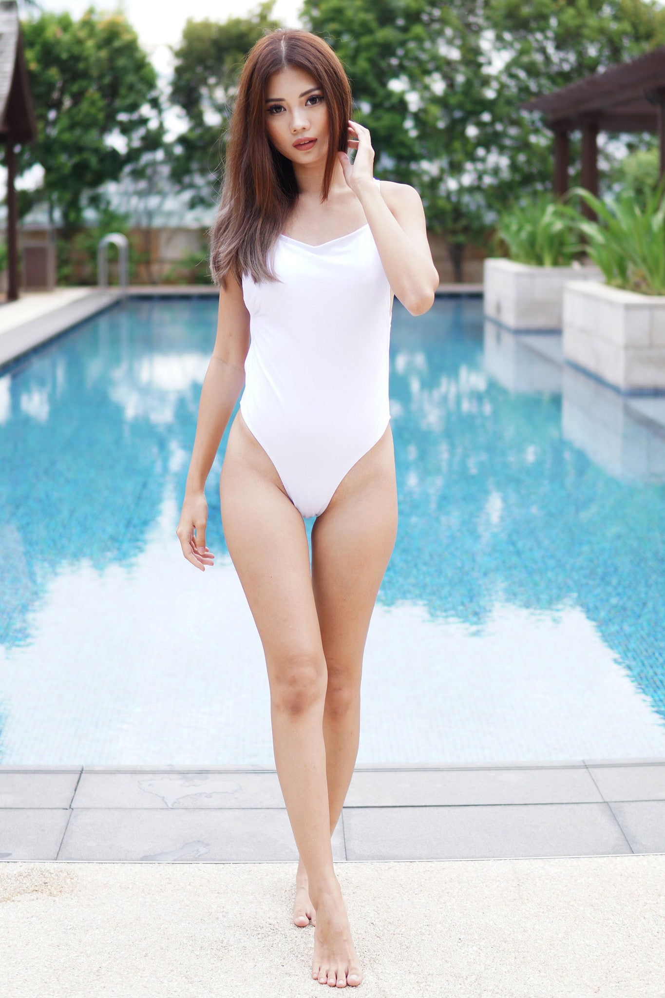 Crossback High Hip Monokini (White) -  - 3