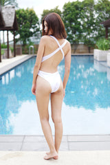 Crossback High Hip Monokini (White) -  - 5