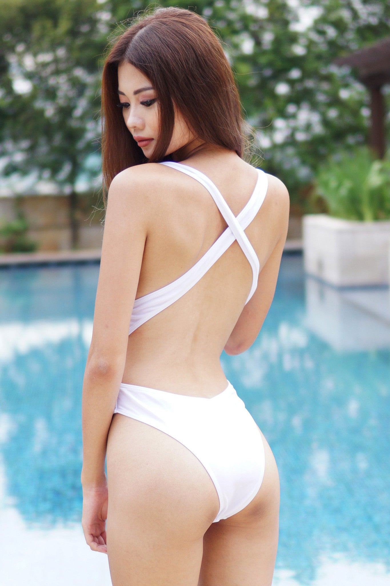 Crossback High Hip Monokini (White) -  - 6