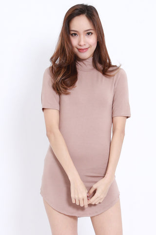 Curve Hem Tee Dress (Taupe)
