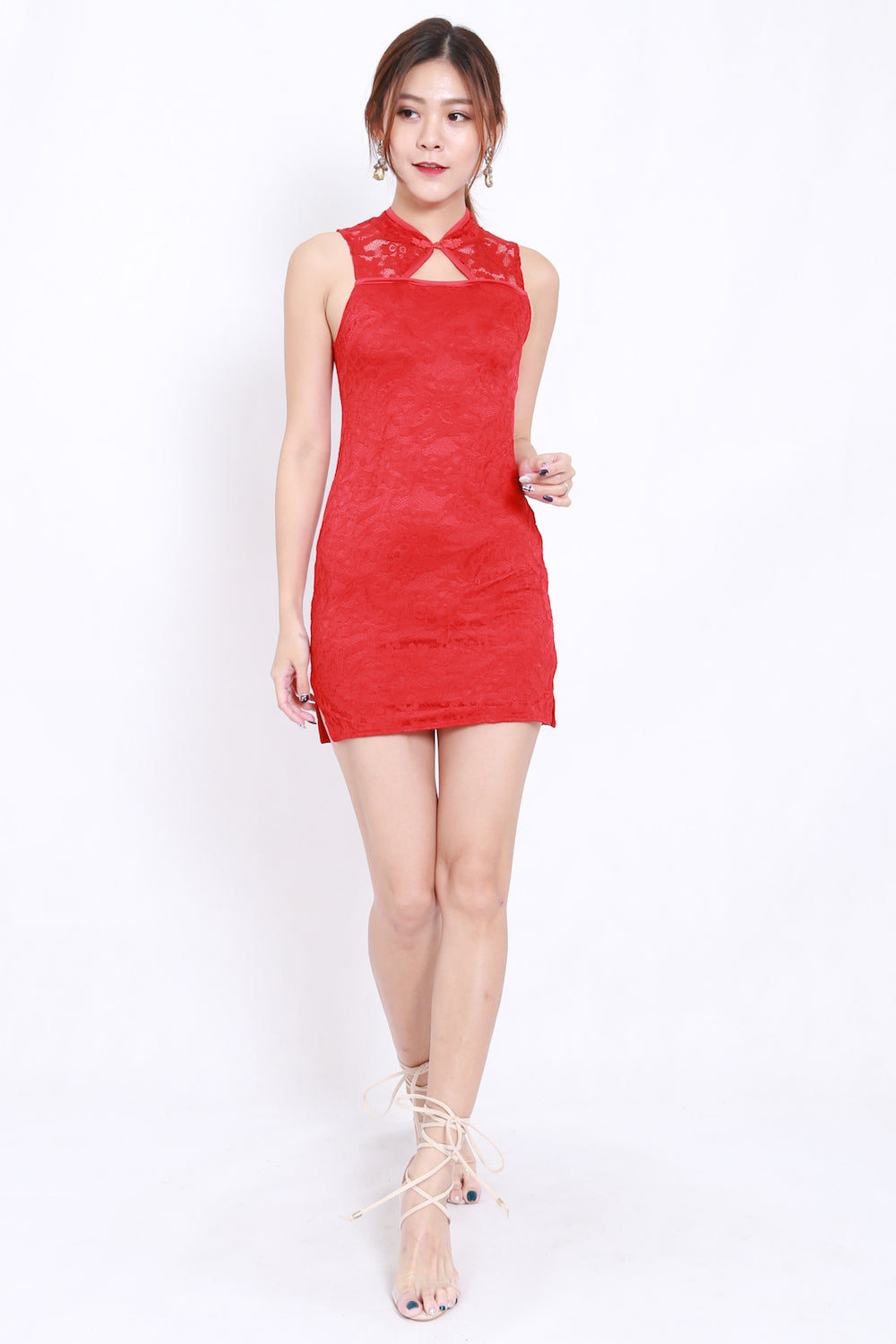 Cut In Lace Cheongsam Dress (Red)