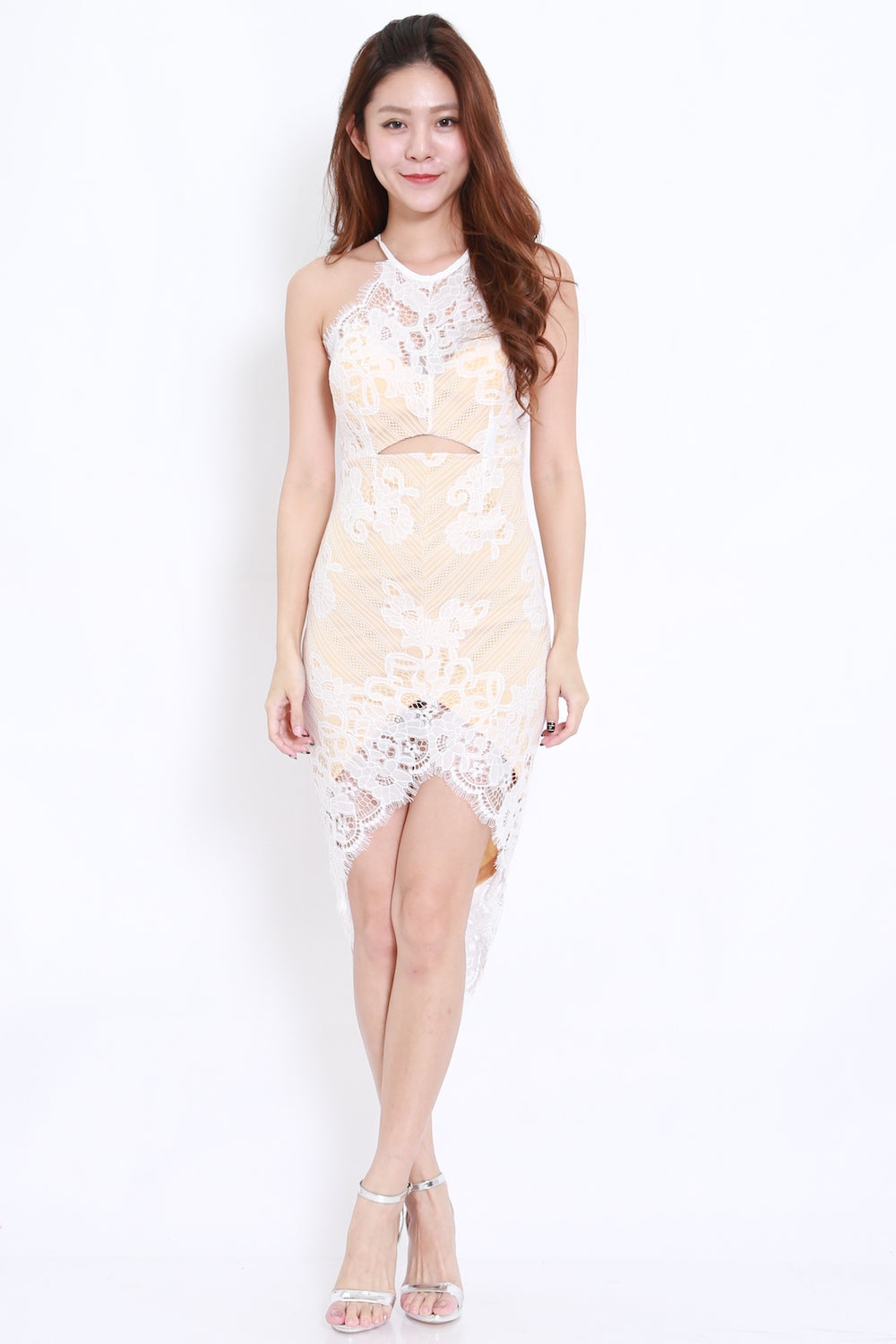 Cutout Asymmetrical Lace Dress (White)