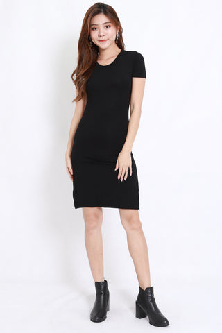 Cutout Back Tee Dress (Black)