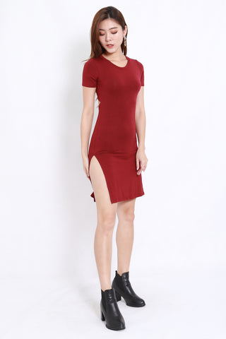 Cutout Back Tee Dress (Maroon)