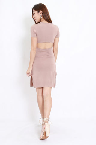 Cutout Back Tee Dress (Taupe)