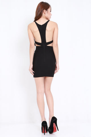Cutout Back V Dress (Black)
