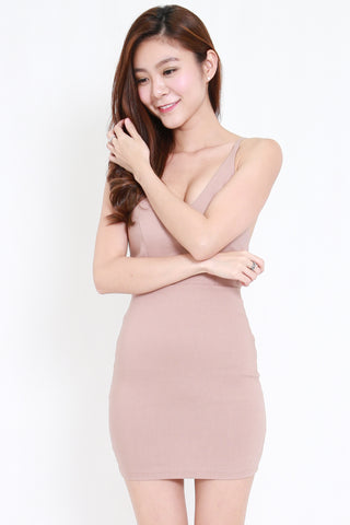 Cutout Back V Dress (Nude)