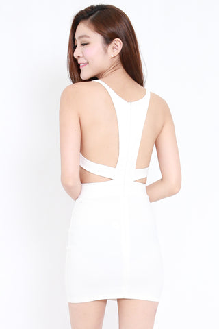 Cutout Back V Dress (White)