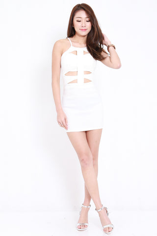Cutout Cage Dress (White)