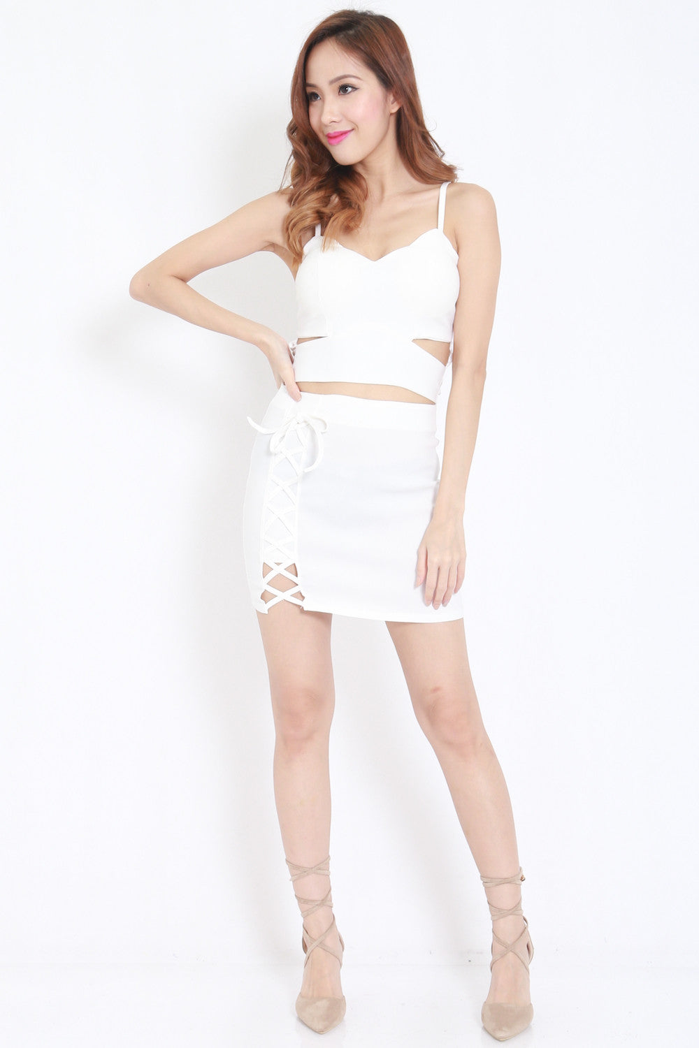 Cutout Lace 2pcs Set (White) -  - 2