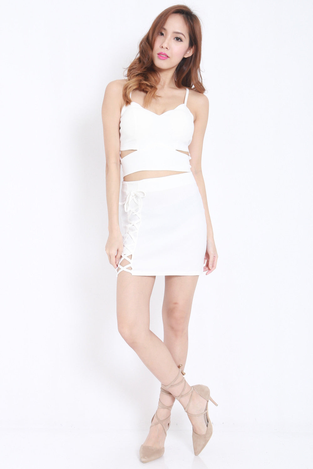 Cutout Lace 2pcs Set (White) -  - 3
