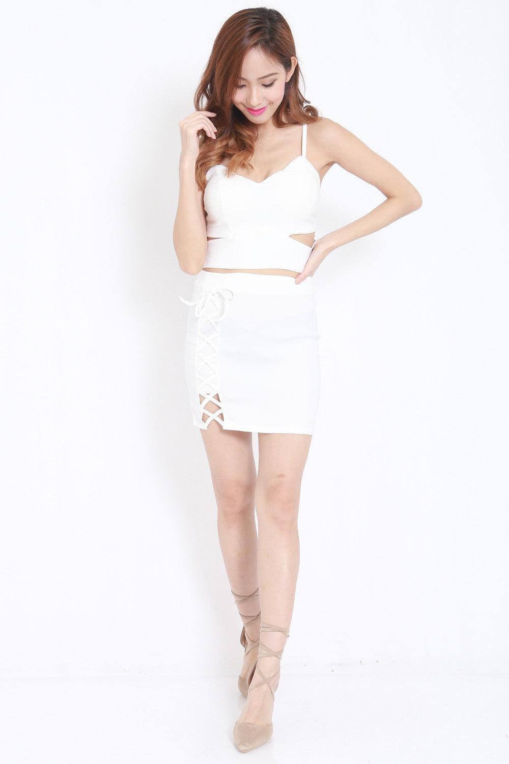 Cutout Lace 2pcs Set (White) -  - 4