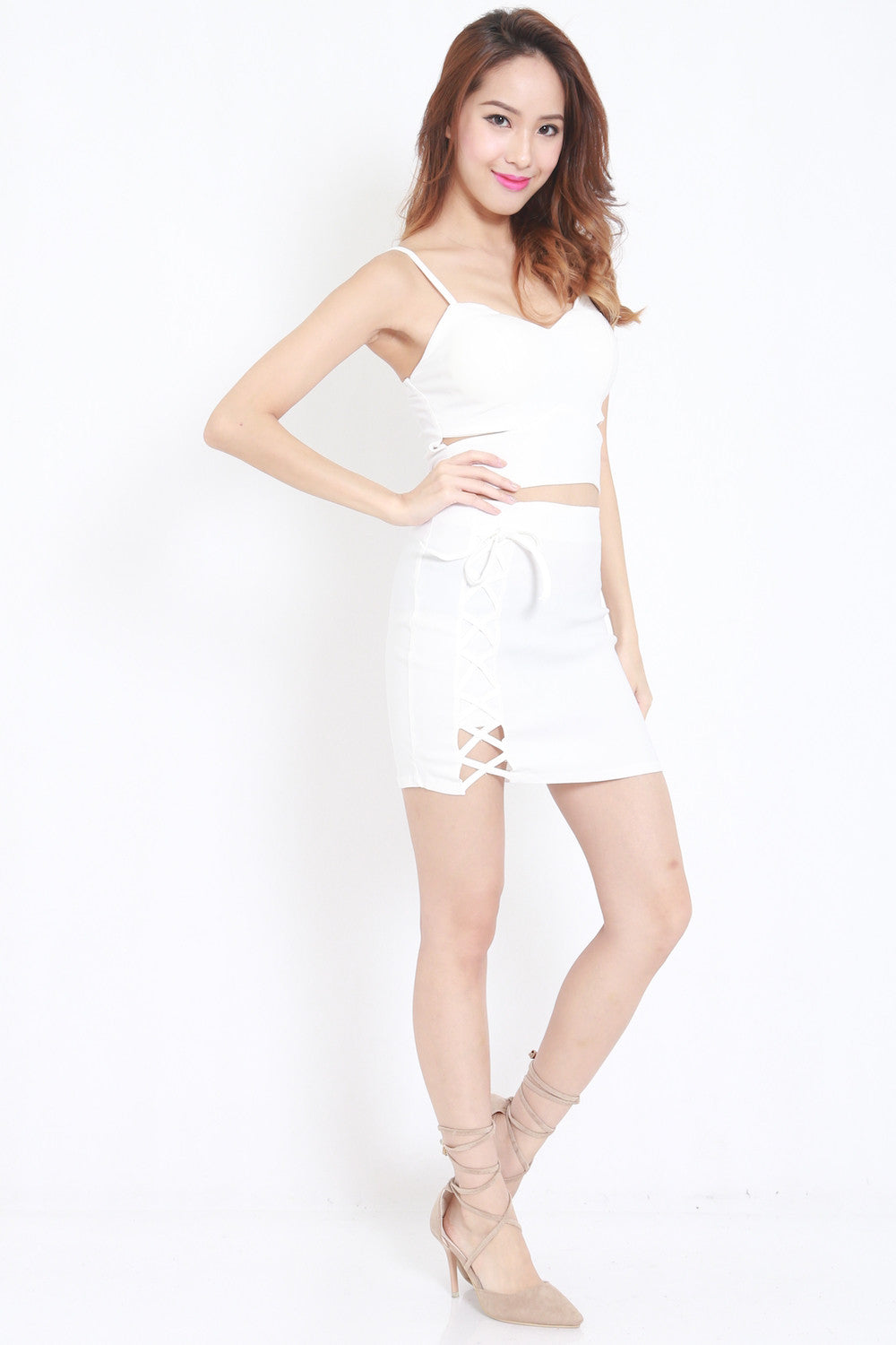 Cutout Lace 2pcs Set (White) -  - 1