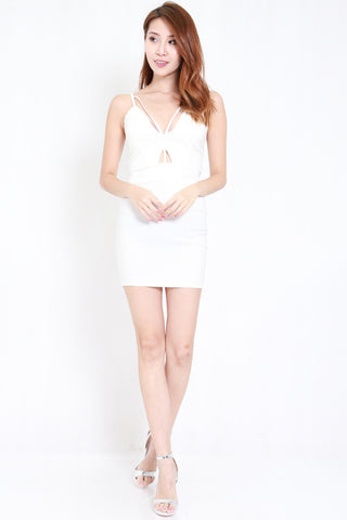 Cutout Stappy V Dress (White)