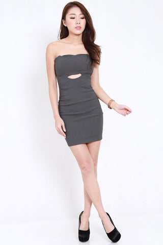 Cutout Tube Dress (Dark Grey)