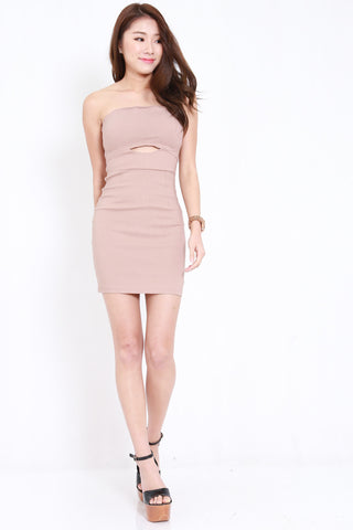 Cutout Tube Dress (Nude)