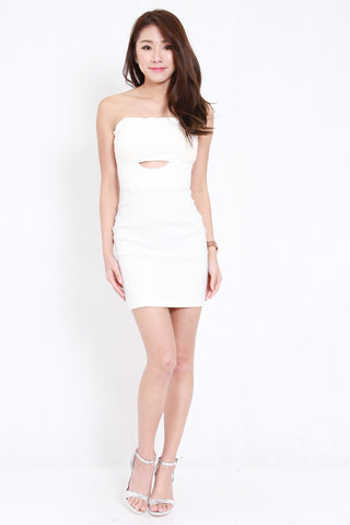 Cutout Tube Dress (White)