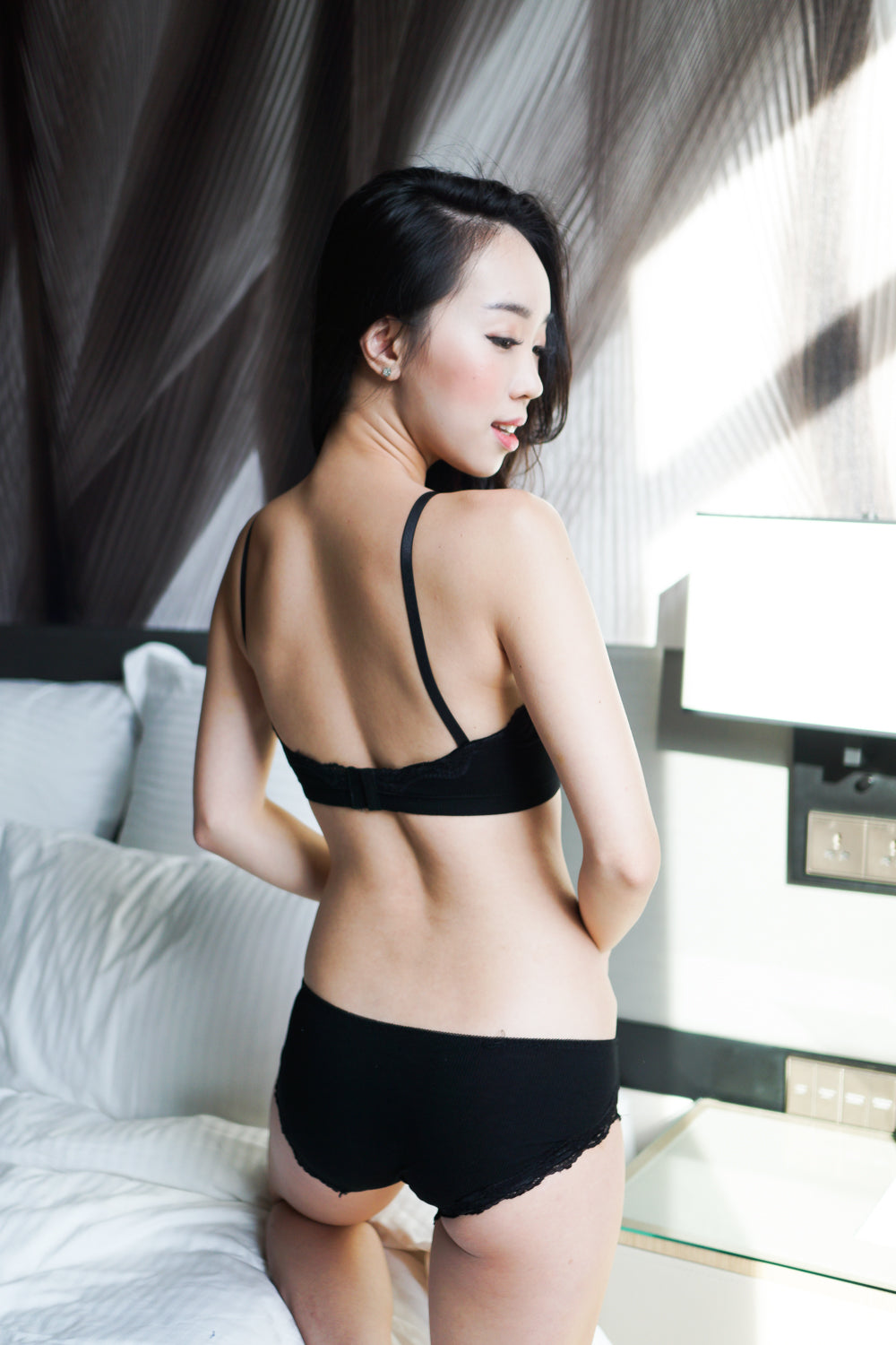 Basic Cotton Bra Set (Black)