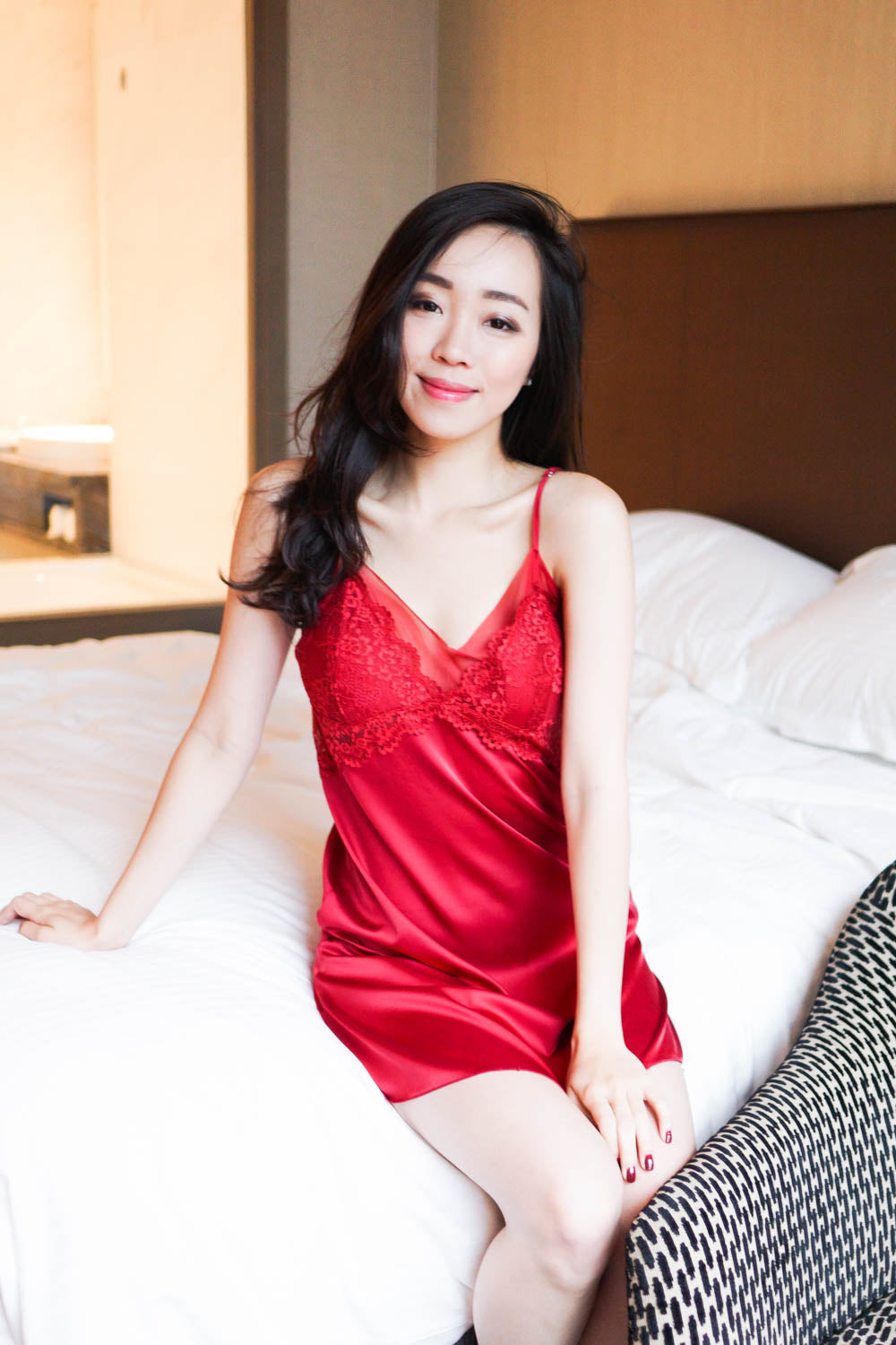 Lace Mesh Sleep Dress (Red)