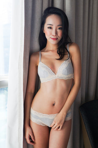 Lace Trim Cotton Bra Set (Grey)