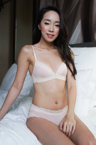 Lace Trim Cotton Bra Set (Pink)