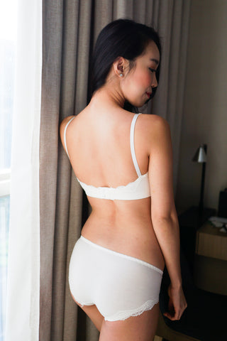 Basic Cotton Bra Set (White)