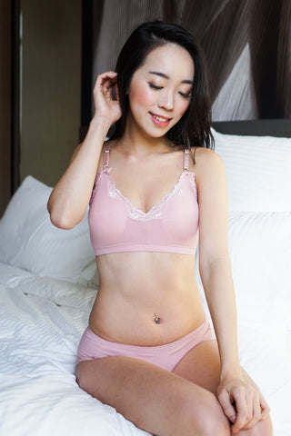 Basic Cotton Bra Set (Pink)