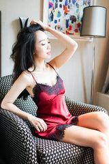 2 Tone Lace Hem Sleep Dress (Maroon)
