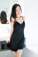 2 Tone Lace Hem Sleep Dress (Black)