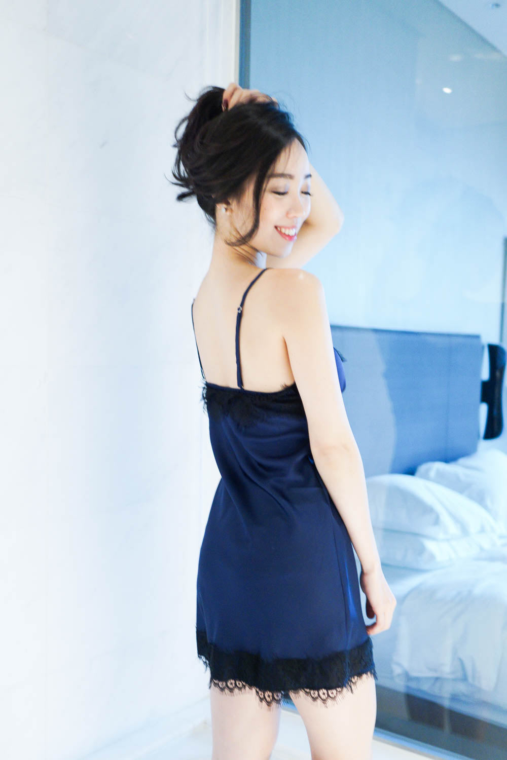 2 Tone Lace Hem Sleep Dress (Navy)