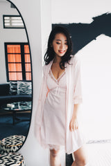 Lace Ribbon Loungewear Dress Set (Pink)